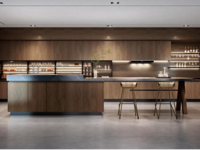 让你幸福感爆棚的柚木实木全屋定制厨房