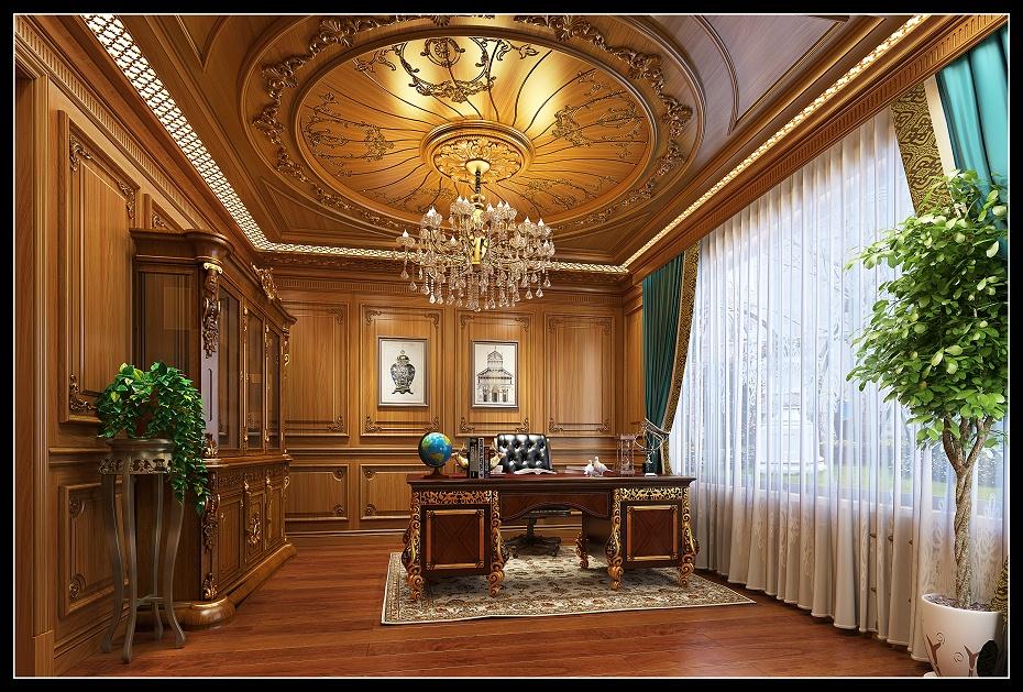 崇明欧式书房满墙护墙板书柜吊顶书桌地板效果图