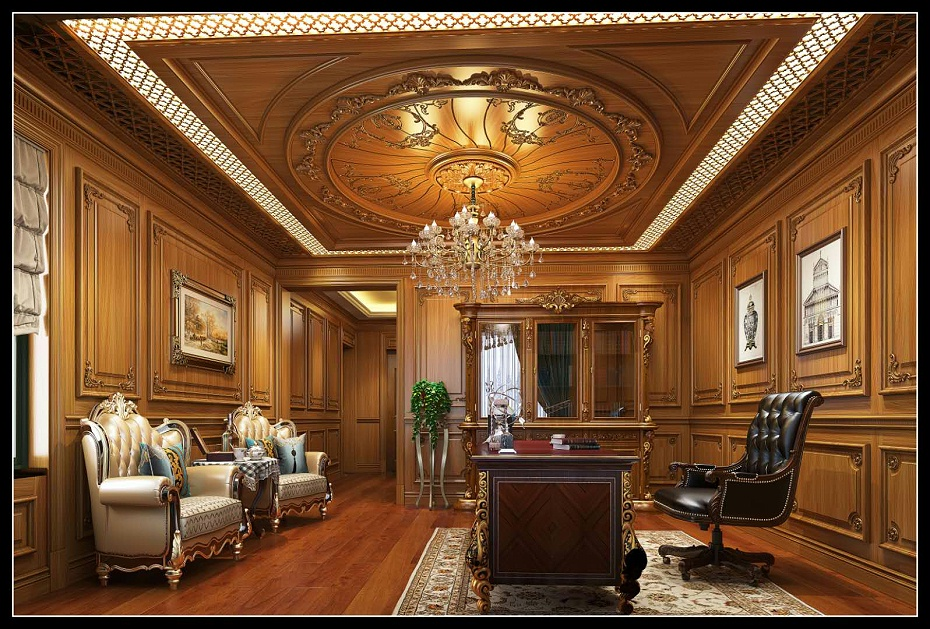 崇明欧式书房满墙护墙板书柜吊顶书桌木门地板效果图 (2)