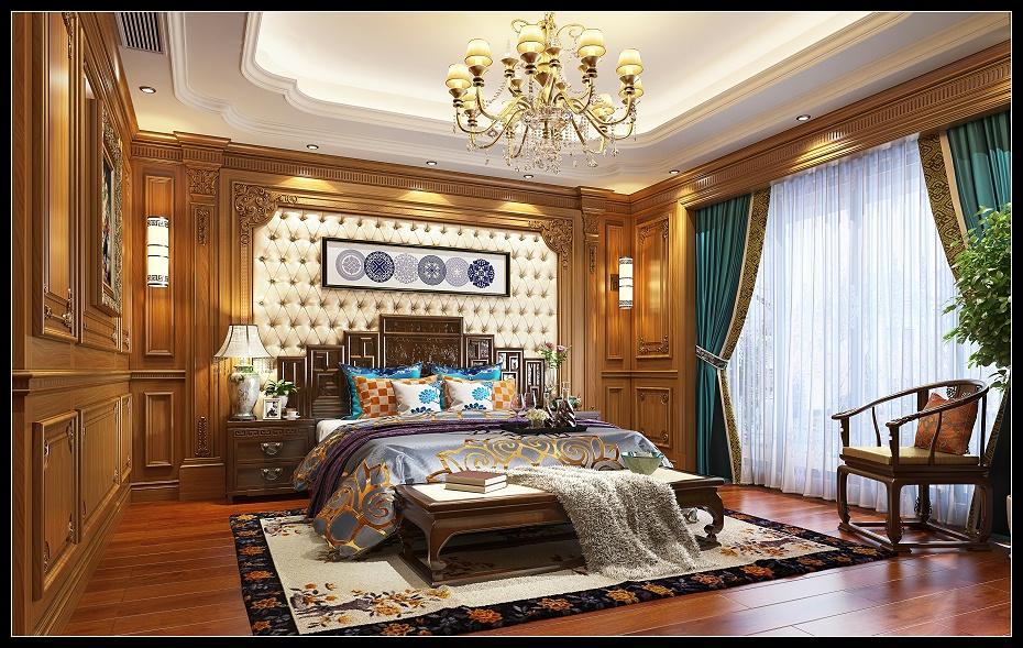 崇明欧式卧室满墙护墙板床床头柜电视柜地板窗帘盒木门床头背景效果图 (6)