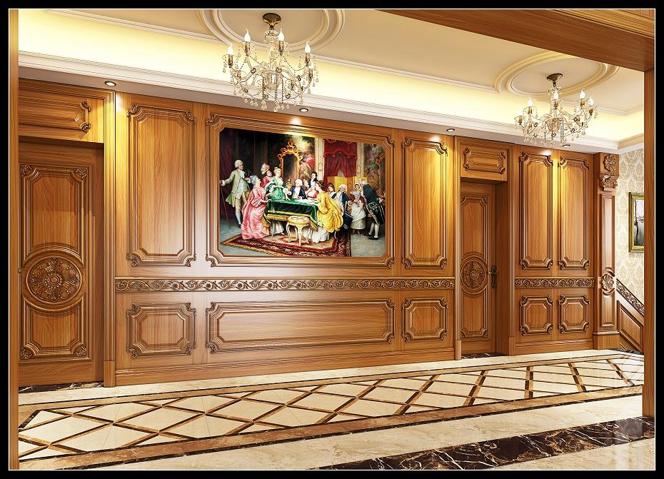 崇明欧式走道满墙护墙板木门效果图 (2)