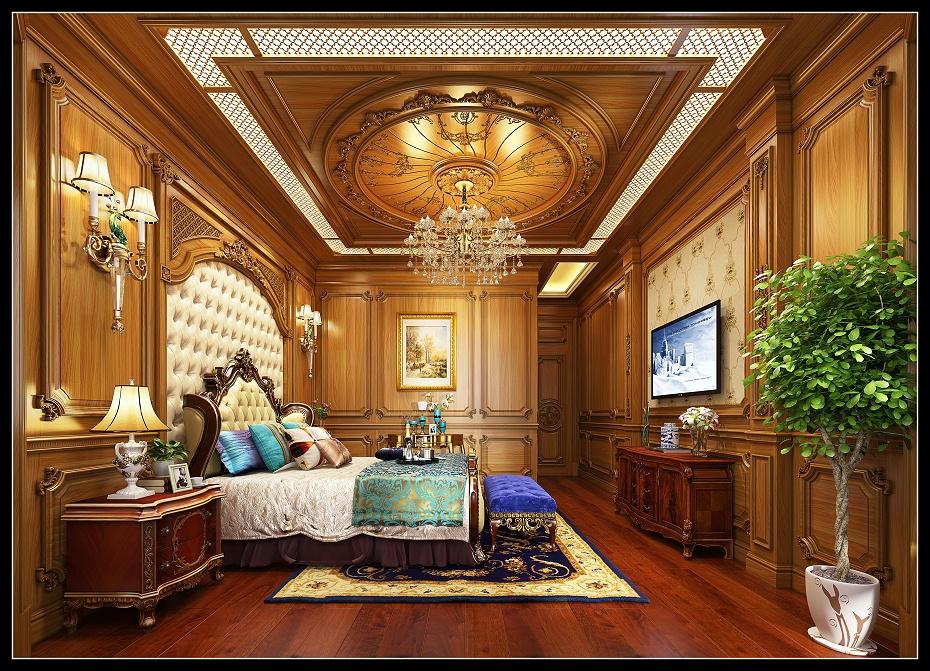 崇明欧式卧室护墙板床床头柜电视柜地板窗帘盒木门床头背景吊顶效果图