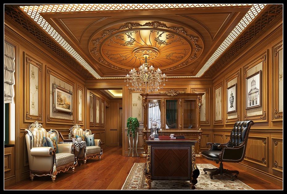 崇明欧式书房半墙护墙板书柜吊顶书桌木门地板效果图