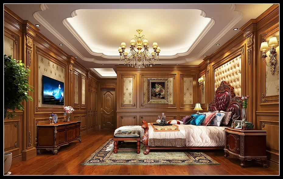 崇明欧式卧室墙纸护墙板床床头柜电视柜地板窗帘盒木门床头背景效果图