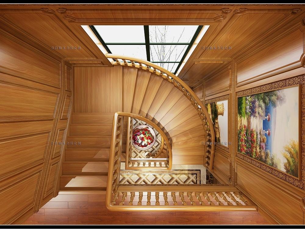 楼梯间柚木楼梯03
