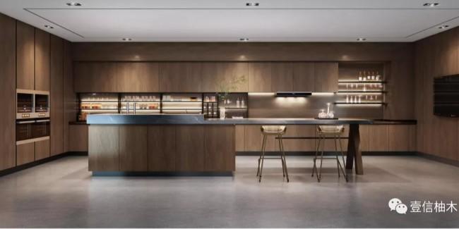 看到这款柚木厨房,幸福感溢出100平米