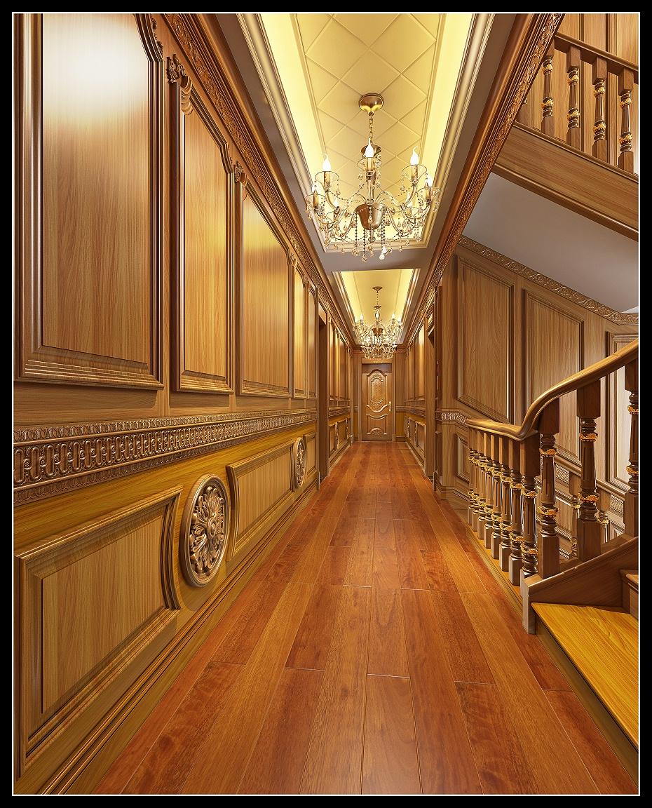 崇明欧式过道满墙护墙板楼梯扶手木门地板效果图 (2)