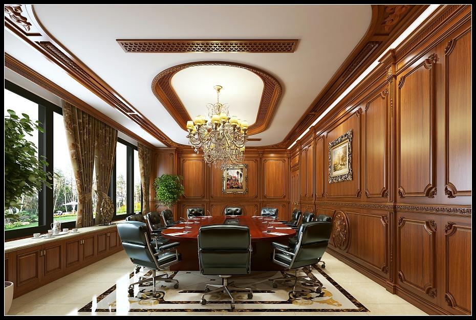 甘肃欧式会议室满墙护墙板木门吊顶空调出风口会议桌窗套地柜效果图 (2)
