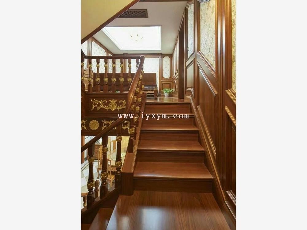 楼梯间柚木实木楼梯04